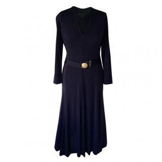 Lauren Ralph Lauren belted dark blue dress