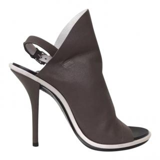 Balenciaga Brown Leather Sling-Back Heels