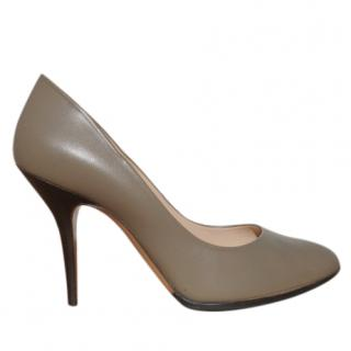 Bally contrast-heel olive-green leather pumps