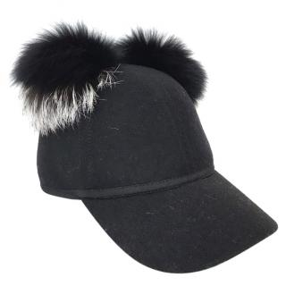 Charlotte Simone Sass fur pom-pom black cap