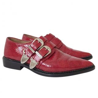 Toga Pulla multi-buckle snake-effect patent leather shoes