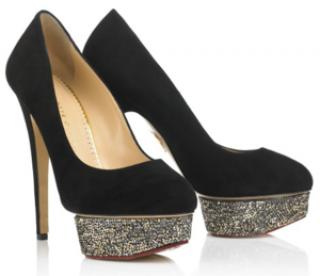 Charlotte Olympia Dolly Swarovski suede pumps