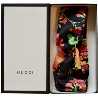 Gucci floral-print duchesse silk-satin twisted headband
