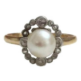 Antique pearl & diamond ring