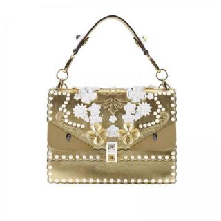 Fendi Kan I Floral-Embellished Gold Bug Leather Bag