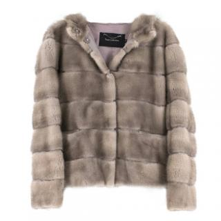 Tara Jarmon Hooded Mink Fur Jacket
