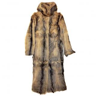 C&A hooded fox fur long coat