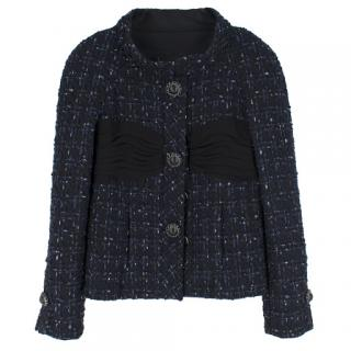 Chanel ruched-bust navy tweed jacket