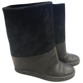 Casadei black wedge boots