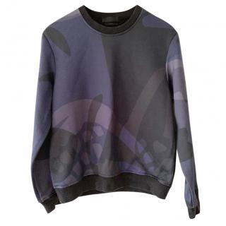 Alexander McQueen Blue & Black Abstract-Print Sweatshirt