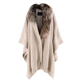 Lanvin detachable fur-collar wool & cashmere-blend cape