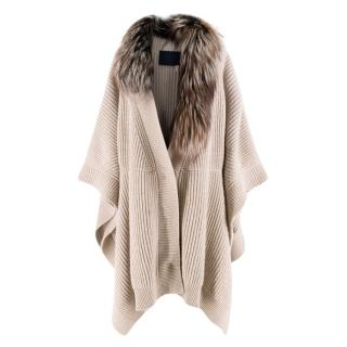 Lanvin detachable fur-collar wool & cashmere-blend cape