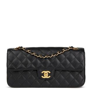 Chanel Black Quilted Caviar-Leather East West Classic Bag