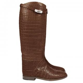 Hermes dark-brown alligator knee-high riding boots