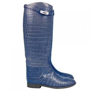 Hermes blue alligator knee-high riding boots