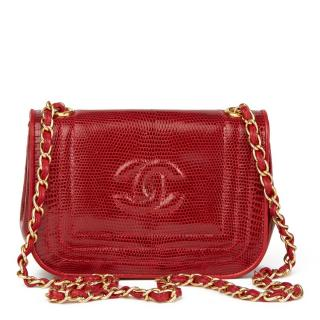 Chanel Vintage Red Timeless Lizard Mini Flap Bag