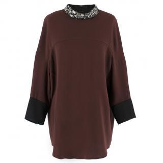 Phillip Lim embellished high-neck burgundy top