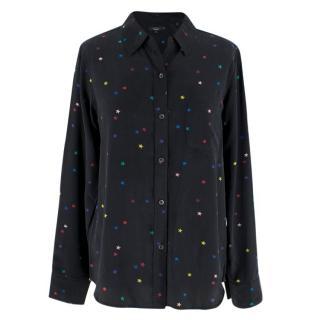 Rails Kate rainbow star-print black sandwashed-silk shirt