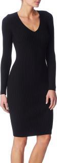 Wolford Black Merino Rib V-neck Dress