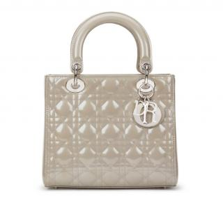 Christian Dior Medium Lady Pearl-Grey Quilted Patent Leather Dior