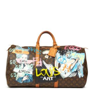 Louis Vuitton hand-painted Keepall 55 bag