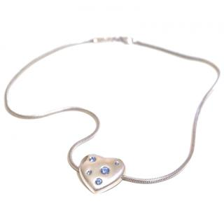 Yves Saint Laurent crystal-heart silver necklace