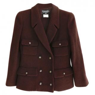 Chanel Dark-Brown Tweed Pea Jacket