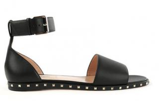 Valentino Micro-Stud Embellished Flat Leather Sandals