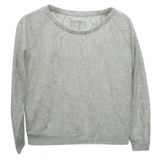 Ganni Metallic-Floral Silver Long-Sleeved Top