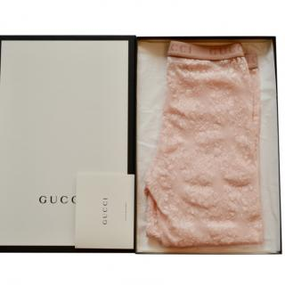 Gucci logo-embroidered footless lace tights