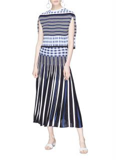 Sonia Rykiel Blue & White Striped Check Maxi Skirt