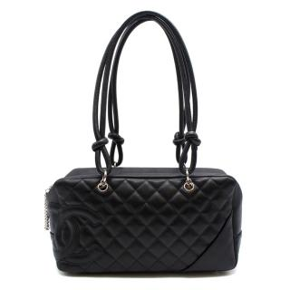 Chanel Black Quilted-Leather Ligne Cambon Bowler Bag
