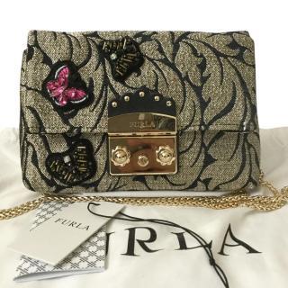 Furla Metropolis embellished-brocade bag