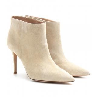 Gianvito Rossi point-toe beige suede ankle boots