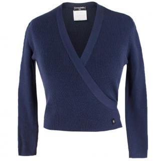 Chanel Navy Silk-Knit Wrap Cardigan