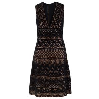 Elie Saab Black Lace-Overlay A-line Dress
