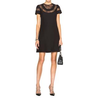 Valentino Black Lace-Insert Cady Dress
