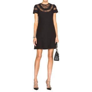 Valentino Black Lace-Insert Cady Dress
