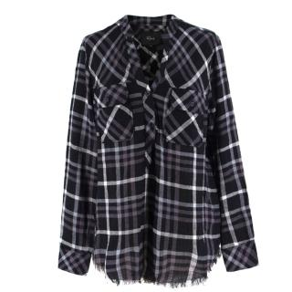 Rails Grey Plaid Fringed-Hem Shirt