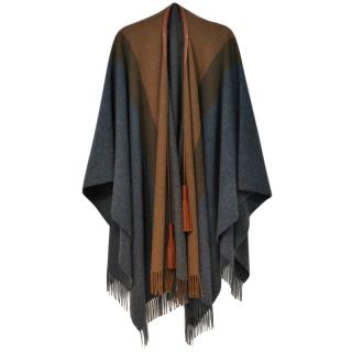 Hermes Rocabar leather-tassel wool and cashmere-blend cape