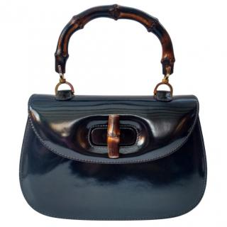Gucci Bamboo Vintage Deep-Navy Patent Leather Bag