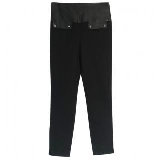 Belstaff black leather-waist stretch leggings