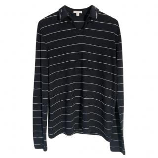 James Perse Estilo virgin-wool striped point-collar top