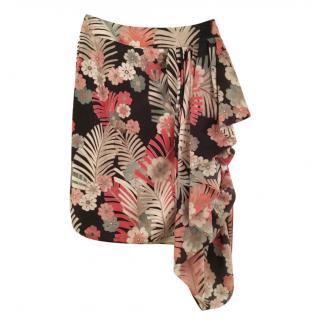 Armani tropical-print ruffle silk skirt