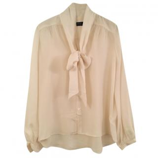 Polo Ralph Lauren tie-neck silk cream blouse
