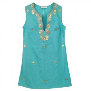 Elizabeth Hurley embroidered sleeveless top