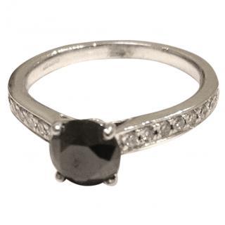 Bespoke Black Diamond Solitaire 18ct Gold Ring