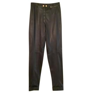 Gucci black leather trousers