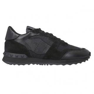 Valentino Rock Runner leather and suede-panel trainers