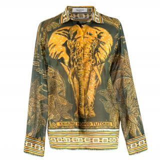 Valentino Elephant-print cotton muslin shirt